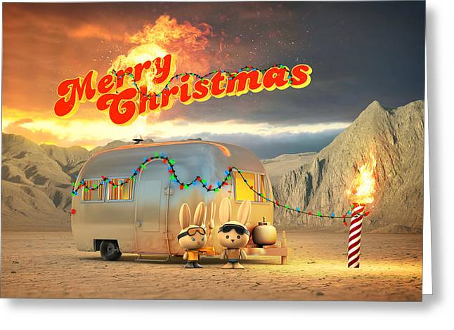 Airstream Burning Man Christmas Greeting Card by Rick Thompson