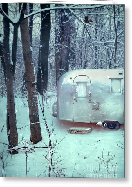 Airstream Trailer In Snowy Woods Greeting Card