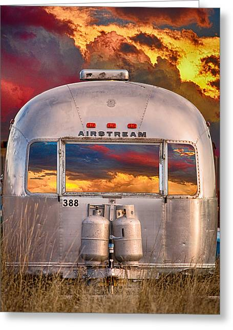 Airstream Travel Trailer Camping Sunset Window View Greeting Card