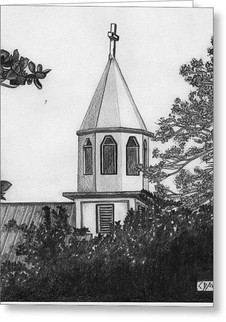 Greeting Card featuring the drawing Ajeltake Steeple by Lew Davis