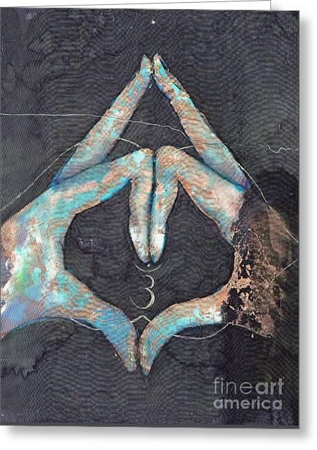 Ajna - Third Eye Chakra Mudra Greeting Card by Silk Alchemy