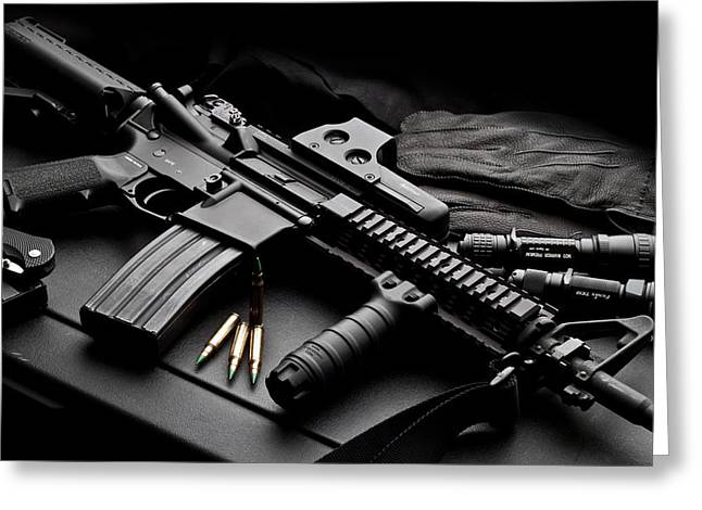 Ak 47 Gear Greeting Card by Marvin Blaine