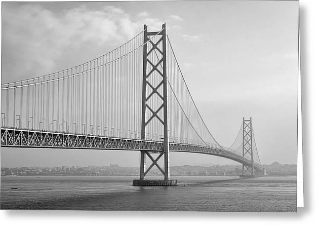 Akashi Kaikyo Bridge Monochrome Greeting Card by Daniel Hagerman