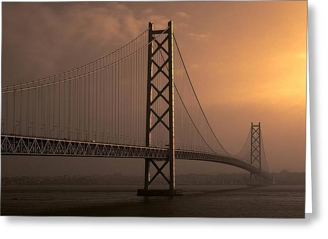 Akashi Kaikyo Bridge Osaka Bay Greeting Card by Daniel Hagerman