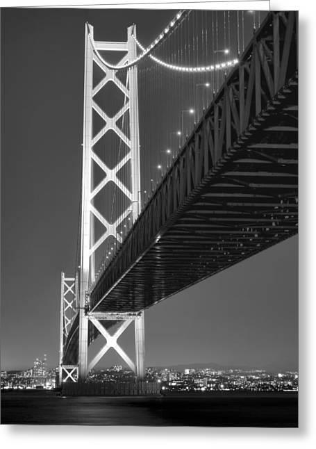 Akashi Kaikyo Super Bridge At Night Greeting Card