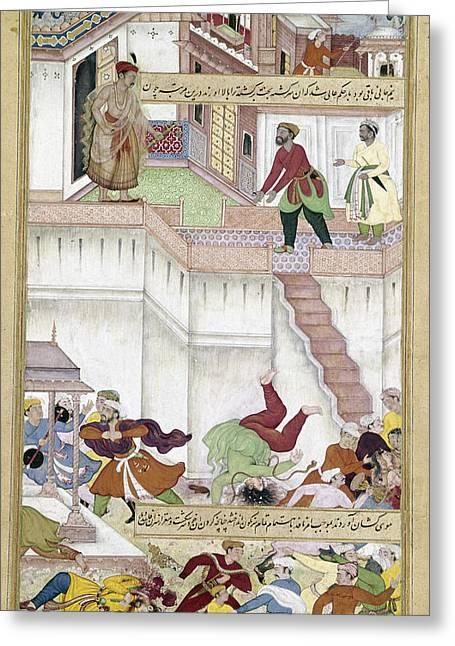 Akbar And Adham Khan, 1562 Greeting Card by Granger