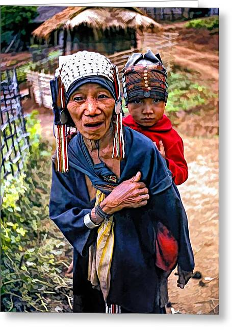 Akha Tribe II Paint Filter Greeting Card by Steve Harrington