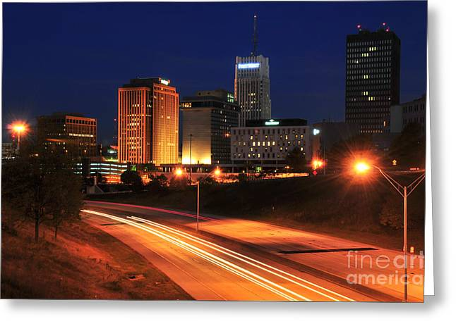 D1u-140 Akron Ohio Night Skyline Photo Greeting Card