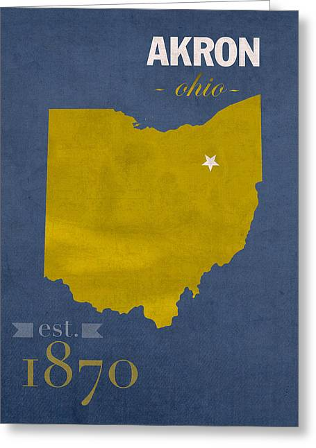 Akron Zips Ohio College Town State Map Poster Series No 007 Greeting Card by Design Turnpike