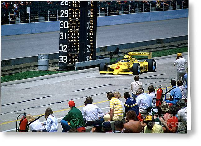 Al Unser Sr. Driving Thru Pit Lane Greeting Card