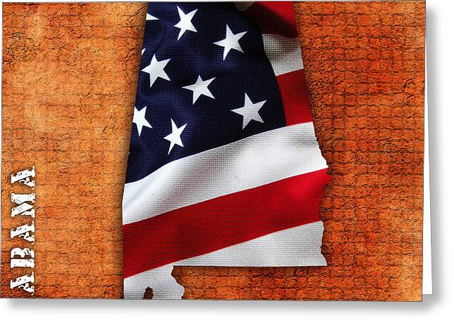 Alabama American Flag State Map Greeting Card by Marvin Blaine