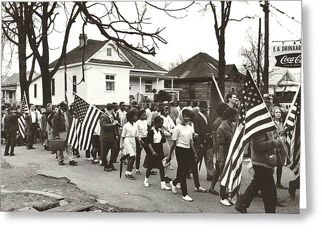 Alabama Civil Rights March Greeting Card by Peter Pettus