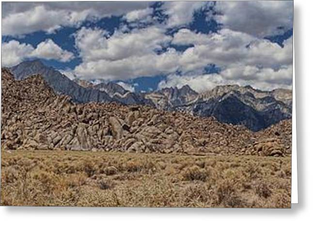 Alabama Hills And Eastern Sierra Nevada Mountains Greeting Card by Peggy Hughes