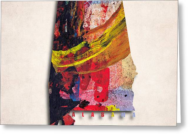 Alabama Map Art -painted Map Of Alabama Greeting Card by World Art Prints And Designs