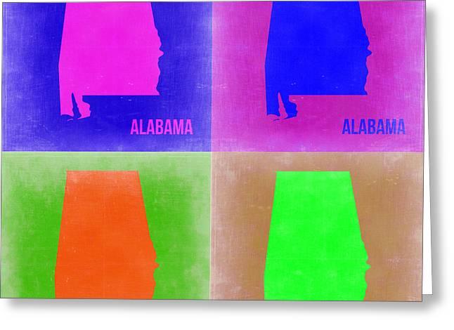 Alabama Pop Art Map 2 Greeting Card by Naxart Studio