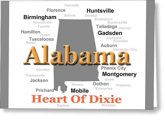 Alabama State Pride Map Silhouette  Greeting Card by Keith Webber Jr