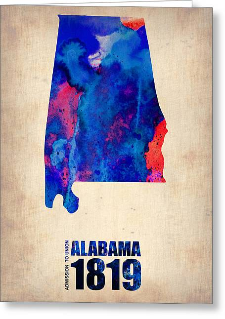 Alabama Watercolor Map Greeting Card by Naxart Studio