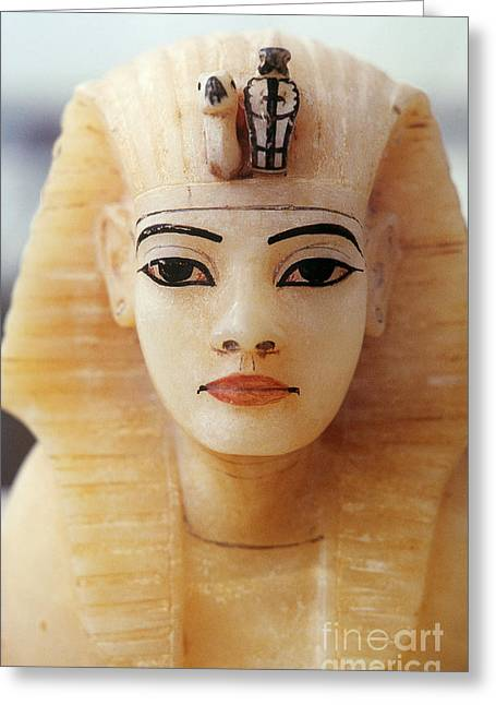 Alabaster Head Of King Tutankhamun Greeting Card by John G. Ross