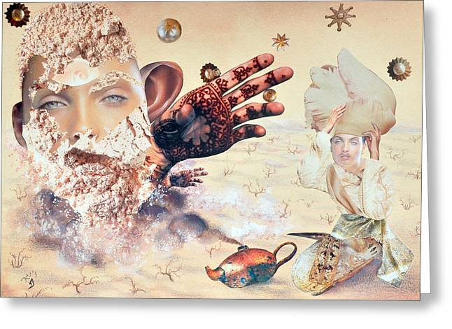 Aladdin And The Magic Lamp Greeting Card by Nekoda  Singer