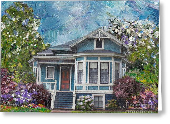 Greeting Card featuring the painting Alameda 1884 - Eastlake Cottage by Linda Weinstock