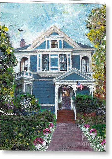 Greeting Card featuring the painting Alameda 1887 - Queen Anne by Linda Weinstock