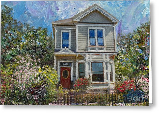 Greeting Card featuring the painting Alameda 1892 Queen Anne by Linda Weinstock