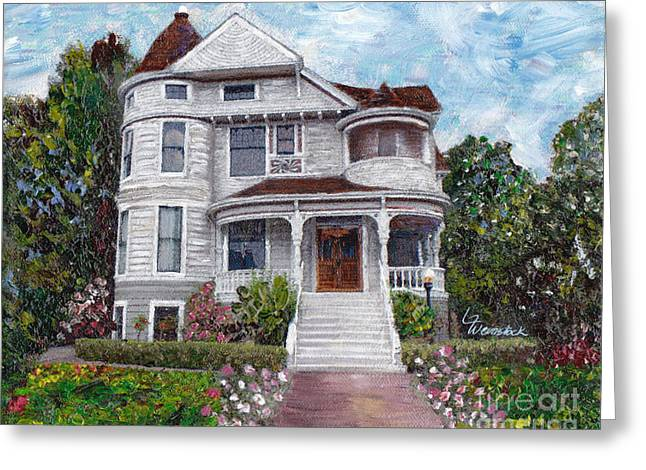 Greeting Card featuring the painting Alameda 1897 - Queen Anne by Linda Weinstock