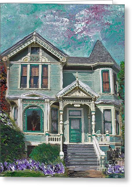 Alameda 1897 - Queen Anne Greeting Card by Linda Weinstock