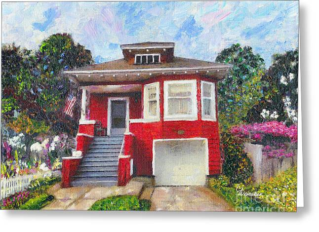 Greeting Card featuring the painting Colonial Revival High Basement Cottage 1907  by Linda Weinstock
