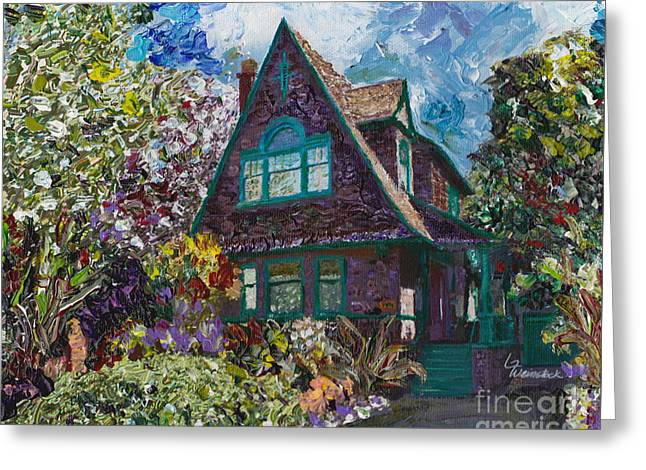 Greeting Card featuring the painting Alameda 1907 Traditional Pitched Gable - Colonial Revival by Linda Weinstock