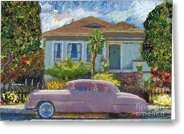 Alameda 1908 House 1950 Pink Dodge Greeting Card by Linda Weinstock