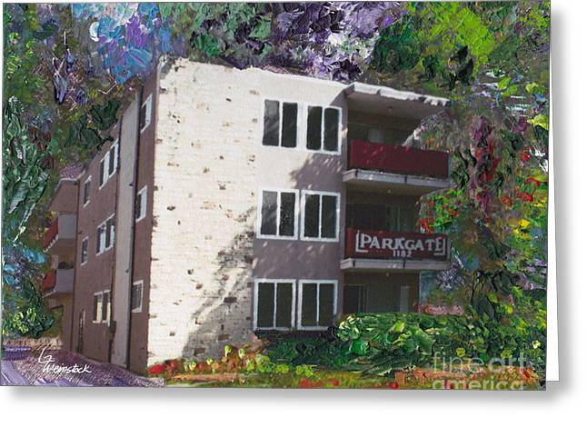 Greeting Card featuring the painting Alameda 1964 Apartment Architecture   by Linda Weinstock