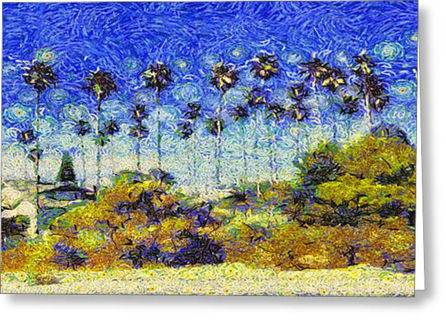 Greeting Card featuring the painting Alameda Famous Burbank Palm Trees by Linda Weinstock