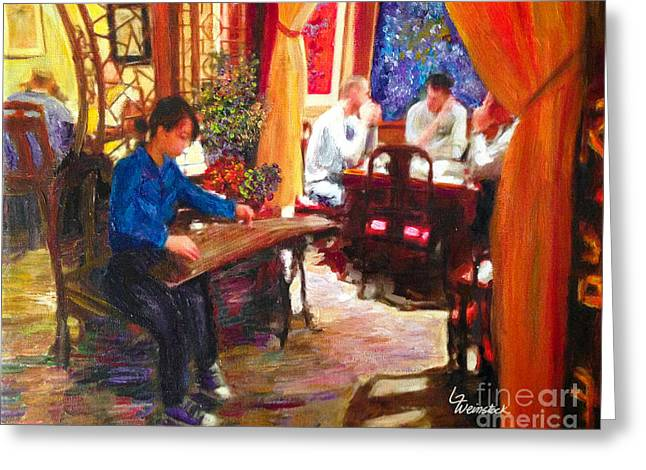 Greeting Card featuring the painting Guzheng by Linda Weinstock
