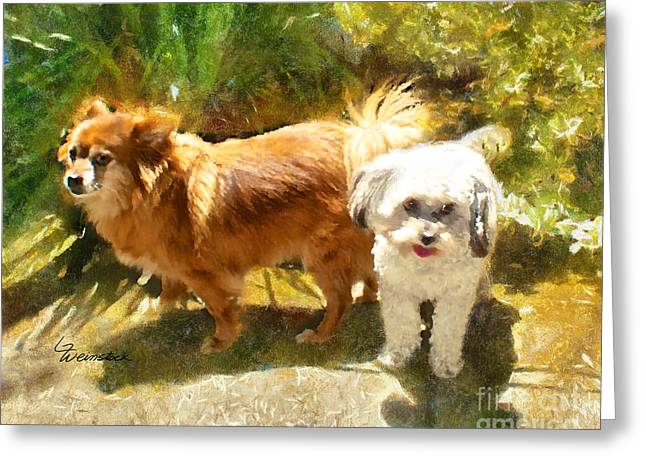 Greeting Card featuring the painting Alameda Bestfriends by Linda Weinstock
