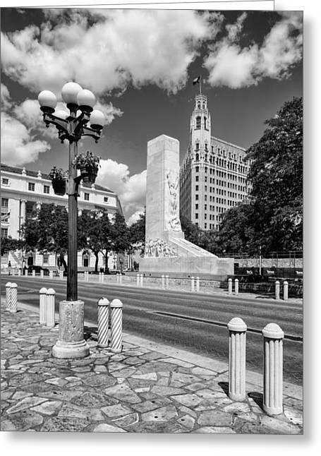 Alamo Memorial And Emily Morgan Hotel - San Antonio Texas Greeting Card