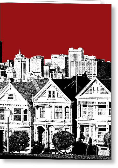 San Francisco Skyline Alamo Square - Dk Red Greeting Card