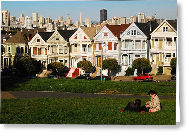Greeting Card featuring the photograph Alamo Square San Francisco by James Kirkikis