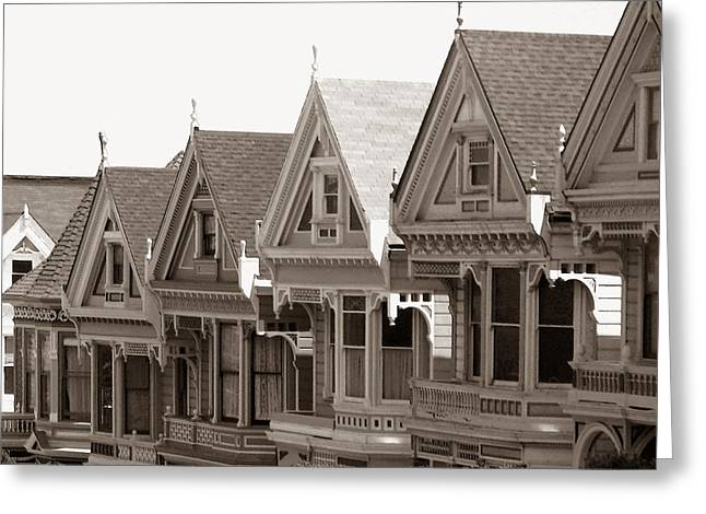 Greeting Card featuring the photograph Alamo Square - Victorian Painted Ladies 2009 by Connie Fox