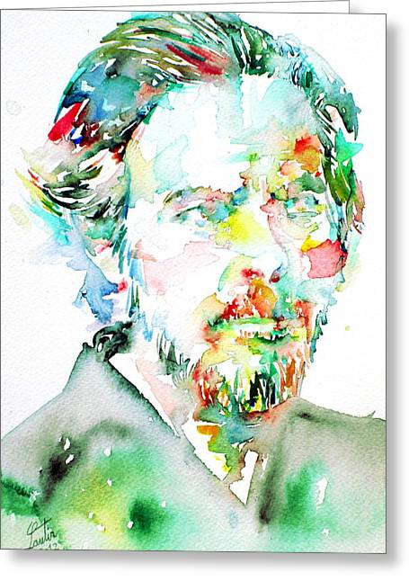 Alan Watts Watercolor Portrait Greeting Card by Fabrizio Cassetta