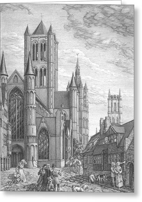Alarming Morning In Ghent. The Left Part Of The Triptych - The Age Of Cathedrals Greeting Card by Irina Sumanenkova