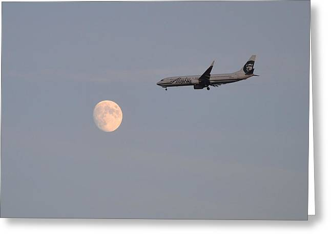 Alaska Airplane Meets The Moon Greeting Card