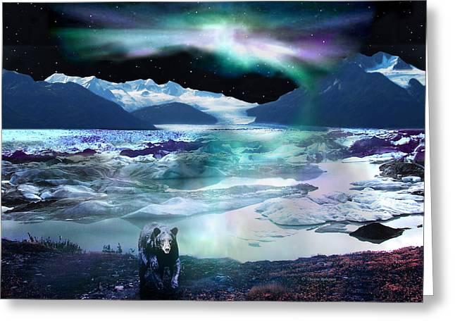 Alaska Aurora Knik Glacier Bear Greeting Card by Dianne Roberson