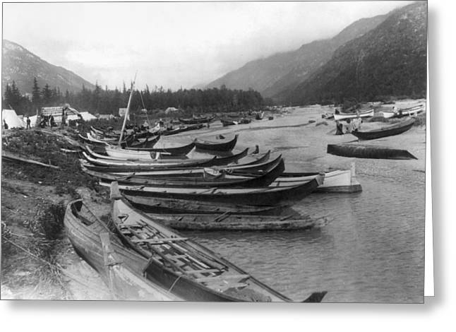 Greeting Card featuring the photograph Alaska Canoes, C1897 by Granger