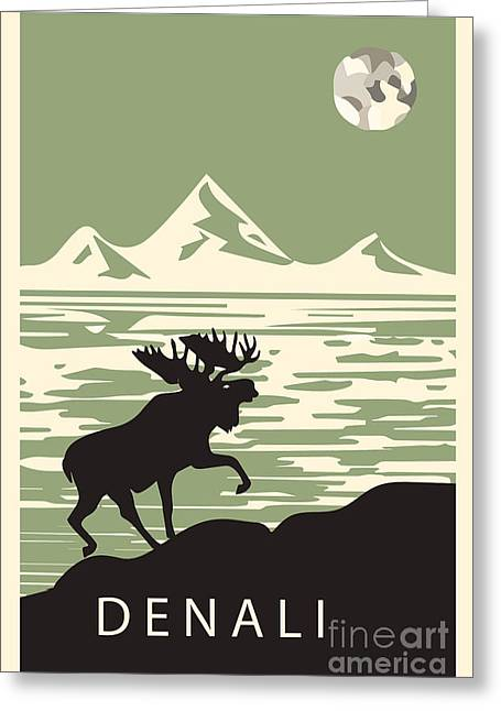 Alaska Denali National Park Poster Greeting Card by Celestial Images