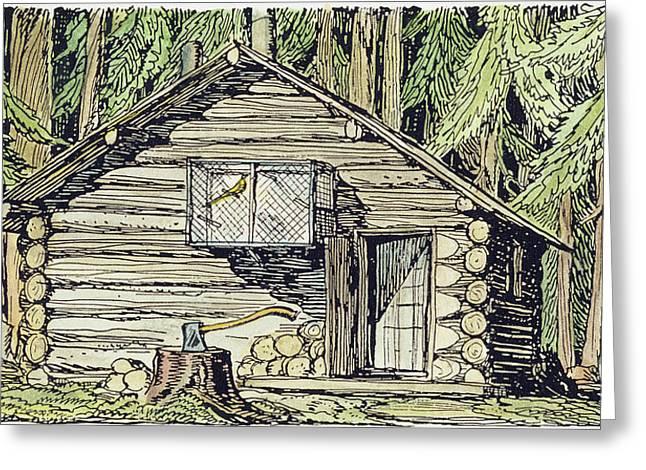 Alaska Log Cabin, 1920 Greeting Card
