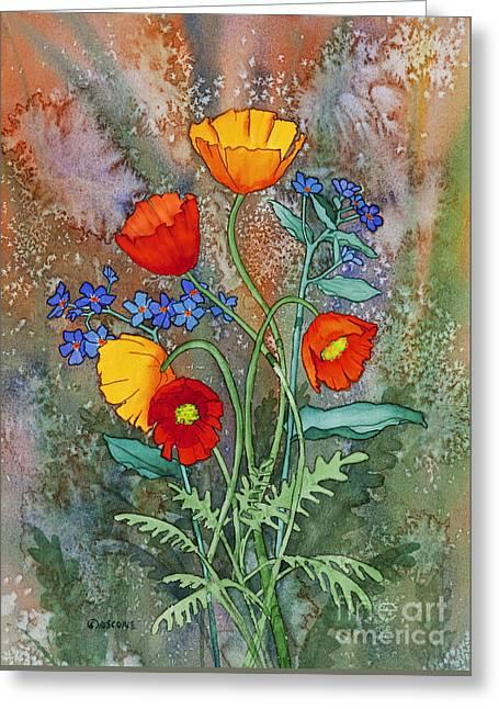 Alaska Poppies And Forgetmenots Greeting Card by Teresa Ascone