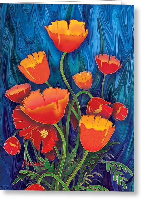Greeting Card featuring the mixed media Alaska Poppies by Teresa Ascone
