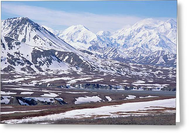 Alaska Range In Spring Snow Denali N P Greeting Card by Yva Momatiuk and John Eastcott