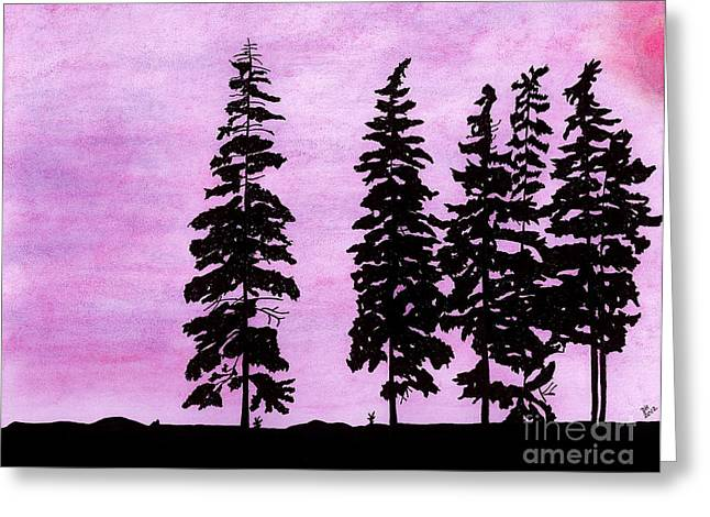 Greeting Card featuring the drawing Colorful - Alaska - Sunset by D Hackett